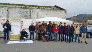 Meritxell Codina en el acto reivindicativo de los profesionales operadores de drones en Bilbao